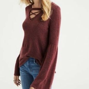 NWOT AEO Criss-Cross Bell Sleeve Sweater, S
